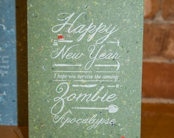 New Year - Zombie Apocalypse  - Hand Printed Recycled