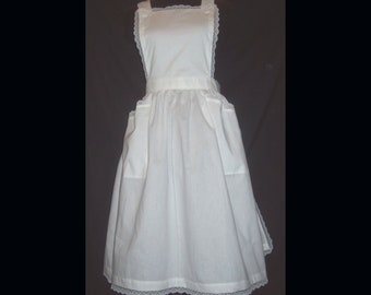 Medium/Large SQUARE Bib Apron with lace trim  white polycotton blend