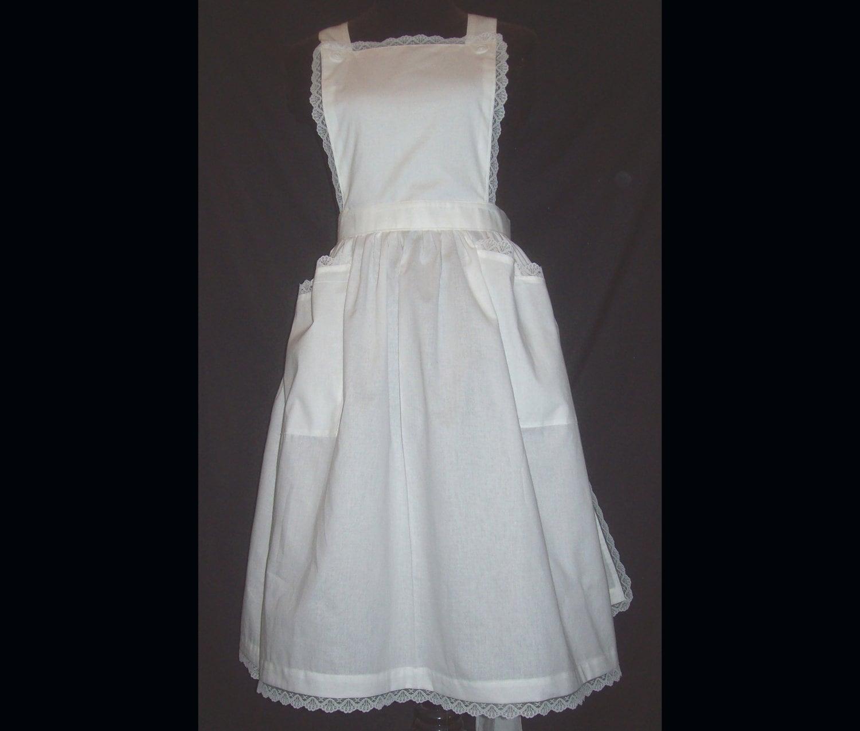 White apron lace trim -  Apron With Lace Trim White Polycotton Blend Zoom