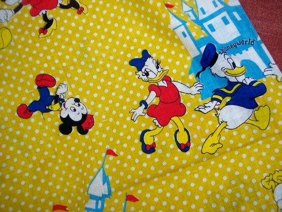 Vintage Disney Fabric Mickey Mouse Minnie Donald By