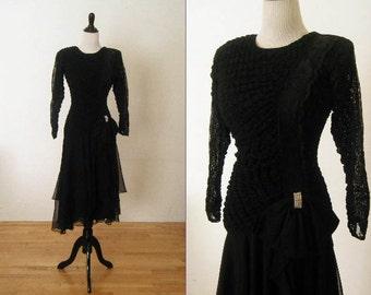 1980's Vintage Climax Black Party Dress