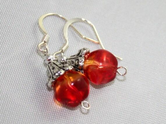 Coral czech glass beaded earrings baroque beaded dangle earrings bohemian glass ear rings