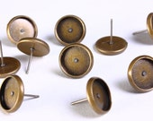 10 pc (5 pairs) 12mm earstud antique brass antique bronze findings nickel free lead free cadmium free (1137) - Flat rate shipping