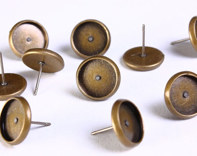 10 pc (5 pairs) 12mm earstud - antique brass findings - 12mm inner tray - nickel free - lead free - cadmium free (1137) - Flat rate shipping