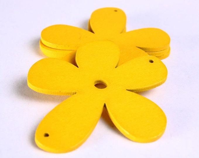 Dollar Sale Clearance - 4 yellow flower wood pendant 57mm 4pcs (795)