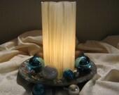 "Glass hurricane candle shade - 7"" pillar - Ivory"