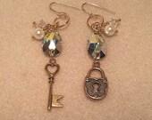 STUNNING Swarovski Key to My Heart Gold Earrings