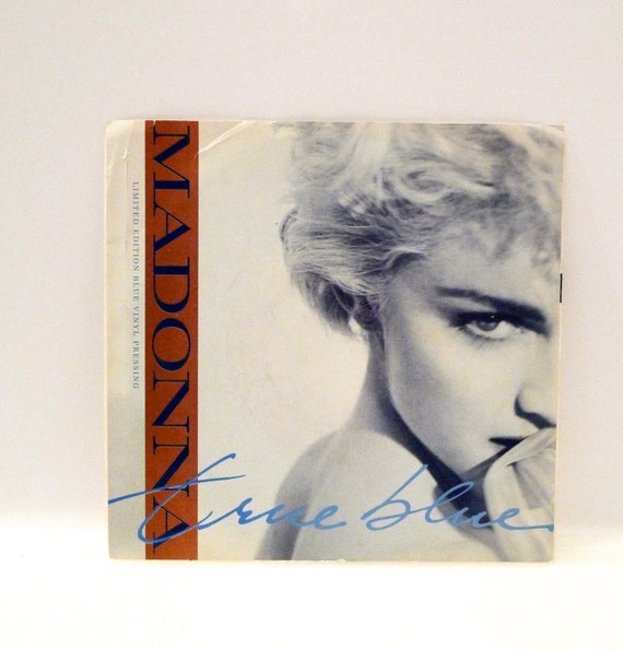 MADONNA Blue Vinyl 45 RPM single record True Blue Picture Sleeve 1986 Mint Disc Lyrics 1986 Herb Ritts Sire Records  FREE Shipping