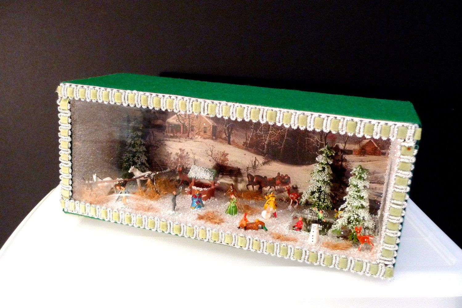 Miniature Children S Bedroom Room Box Diorama: Christmas Diorama Winter Shadow Box Americana OOAK Handmade
