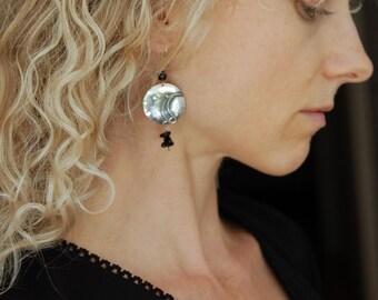 Metalwork Earrings Large Boho Earring Handmade Silver Earrings Rustic Earrings Boho Jewelry Art Jewelry