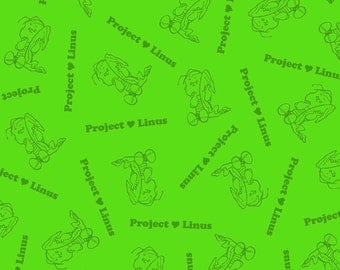 Snoopy Fabric, Project Linus, Lime Green Fabric, Linus Fabric, 1 yard Fabric, 00853