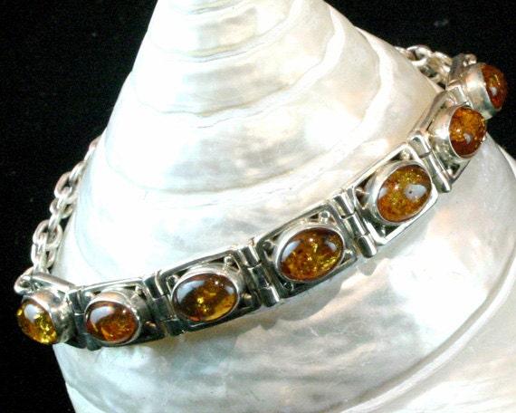 Baltic Amber Sterling Silver Bracelet - 925 Silver - Vintage Cabochon Link Bracelet - Natural Gemstone - Ancient Jewelry - Ethnic Bracelet