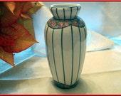 Vase porcelain art deco flowers silver lines vintage pink white silver blossoms