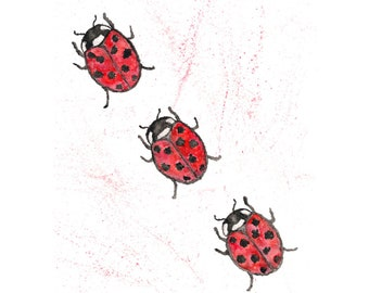 Ladybug art, watercolor ladybug painting, bug art, bug nursery art, nursery decor, bug kids room, bug print, black and red, 8X10 print
