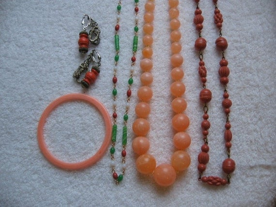 Antique Peach Coral celluloid beads Vintage coral jade opal glass beads