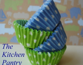 Blue and Lime Combo  Cupcake Liners -   Baking Cups   (50 Standard )