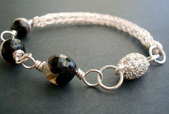 Bracelet -Star Storm- Viking Knit Banded Black and White Fire Crackle Agate - Free Shipping in USA