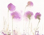 Sale - Buy 2 Get 1 Free Art Watercolor Painting Original Watercolor Flower 4x4 Floral Decor Spring Home Decor Illustration Fuchsia