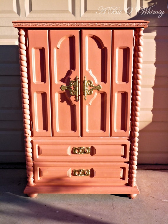 Coral and Gold Armoire