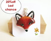 Fox necklace, red fox totem pendant, woodland