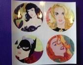 Bettie, Ann Margret and Batgirl Round Stickers