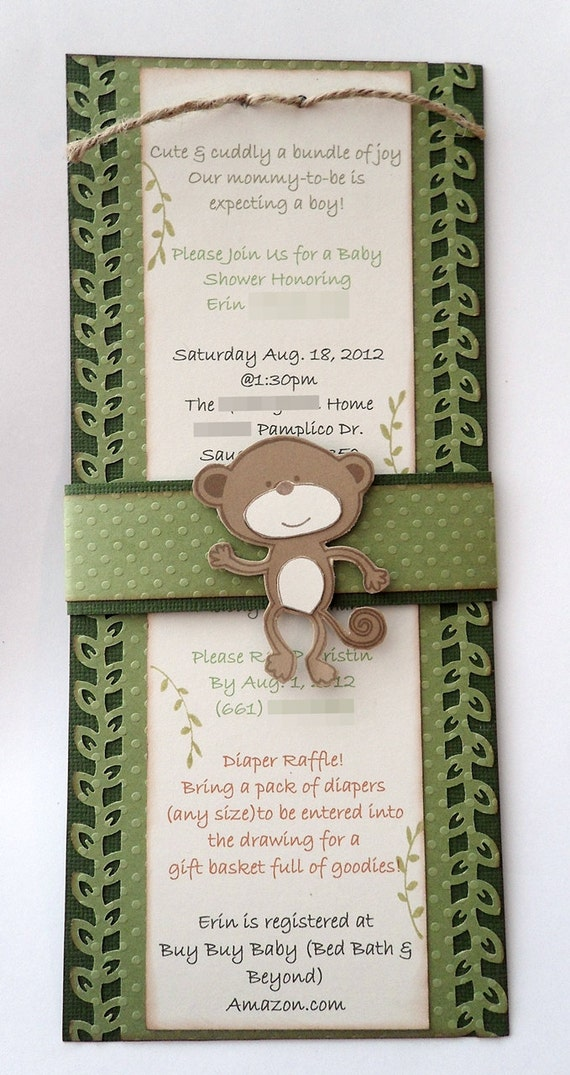 20 monkey baby shower invitations custom handmade and envelopes