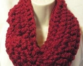 Cranberry  Wool Cowl Infinity Circle Scarf Neckwarmer