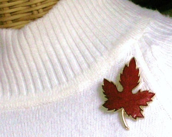 Red Enamel Maple Leaf Pin - Colorful Fall Beauty