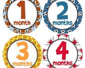 Baby Monthly Stickers in Sports Theme Football Soccer Baseball Basketball BABY BOY Monthly Stickers Baby Shower Gift for New Mom - B141