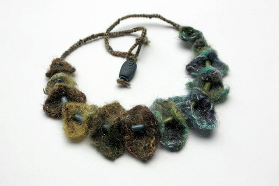 Handmade needle felted necklace with wooden beads