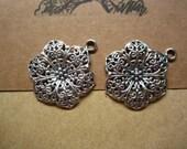 20pcs 32x24mm antique silver flower charms pendant     4083