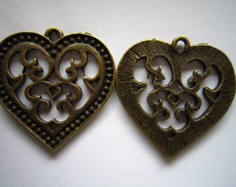 20pcs 27x27mm antique bronze love heart charms pendant R21964