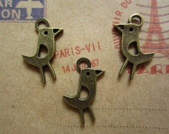 50pcs 21x10mm antique bronze bird charms pendant  R24575