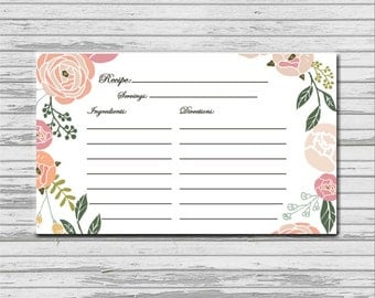 Soft Pastel Flower Recipe Card - 3x5 INSTANT printable download - flowers peonies recipes cards PDF bridal kitchen shower romantic