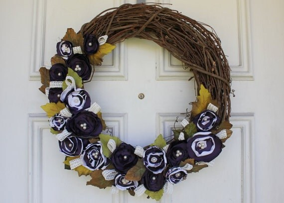"""Eggplant Purple/ Purple & White Grapevine Wreath - 18"""" diameter"""