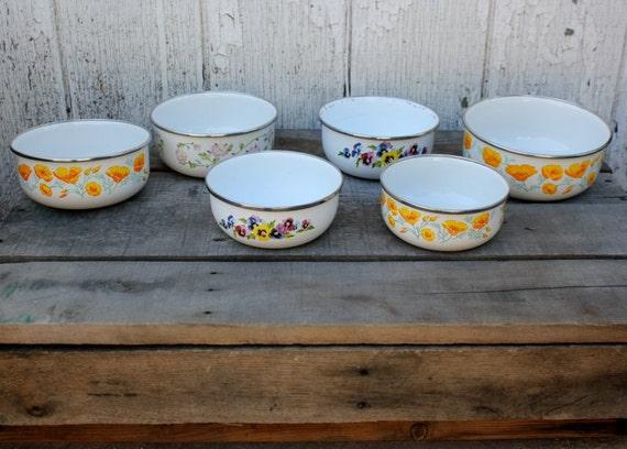 Vintage Kitchen Enamel Nesting Bowls - Set of 6 - Pansy Pattern, Yellow Poppies, Pink Flower Pattern