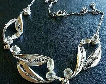 """Designer CC Rhinestone BIB Necklace Signed Sterling Silver Filigree Metal 16"""" 15 Gms Vintage"""