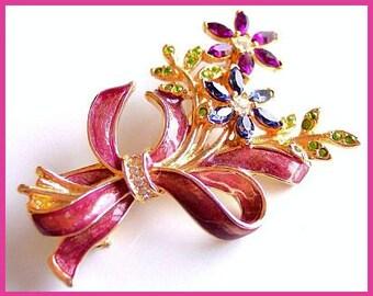 Monet Brooch Pin Signed Pastel Rhinestones Pink Purple Enamel Flower Design Gold Metal Vintage