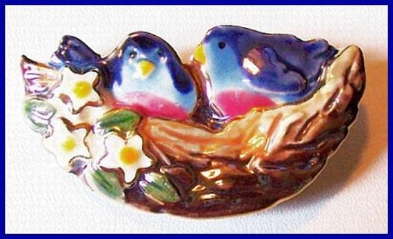 "Vintage Love Birds Brooch or Pin Hand Painted Enamel Colorful Summer Jewelry 2.5"" CIJ Sale"