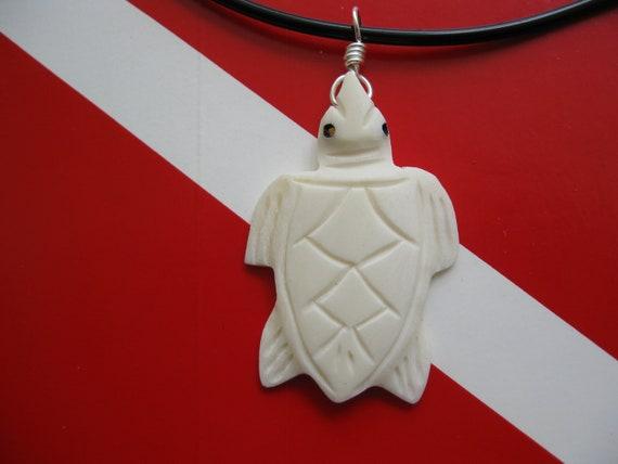 "Sea Turtle Necklace, Hawaiian Honu, Hand Carved Bone Pendant, 18"" Soft Rubber Cord"