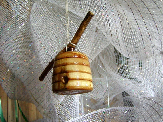 Honey Bee Ornament, Little Honey X Hive on a Branch, Handmade by His Palette, OOAK of Reclaimed Wood