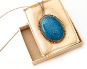 Vintage (New Old Stock) Faux Turquoise Pendant ( & Brooch) Necklace