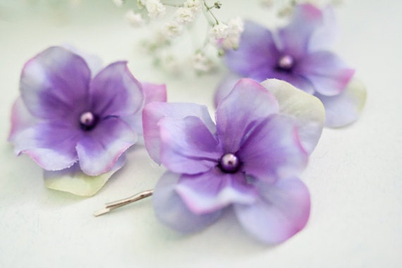 Flower Bobby Pins (3 pcs), Violet Hydrangea, Small Hair Flowers, Hair Accessories, Lavender Hair Flowers, Hair Flowers, Boho, Whimsical
