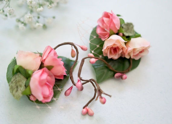 HUGE SALE - Pink and Peach Flower Hair Clips (2 pcs) Silk Roses Hair Accessories