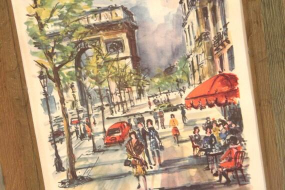 Vintage Pair of Paris Prints circa 1960s Arc de Triomphe Champs Elysees Notre Dame Siene Booksellers by Artist Arno