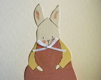 Adorable RABBIT Bunny Cottage Shabby Chic Painted Pink SPRING Pastel Wood Decor Table Shelf Baby NURSERY