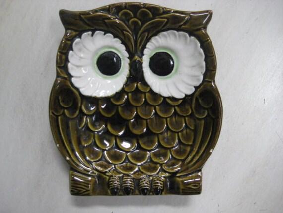 Vintage Owl Tray/Change Holder