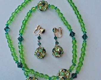 Gorgeous Vintage Glass Beads Necklace and Dangling Earrings Set