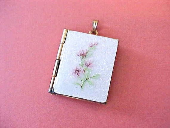 Reserved:  Darling Vintage Book Style Locket with Guilloche Enamel-Holds 4 Little Photos