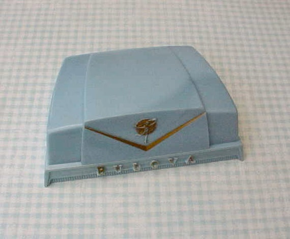 Charming 1950's Sky Blue Celluloid Bulova Wristwatch Box